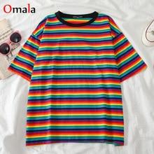 summer Rainbow stripe short Sleeve T-Shirts Women casual oversized T shirt Female harajuku Korean kawaii Student  tee shirt tops
