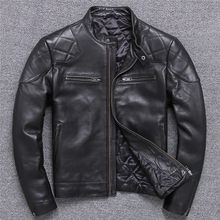 New Stylish Genuine Men Real Sheepskin Motorcycle Biker Leather Jacket Casual Male Winter Outerwear Plus Size(China)