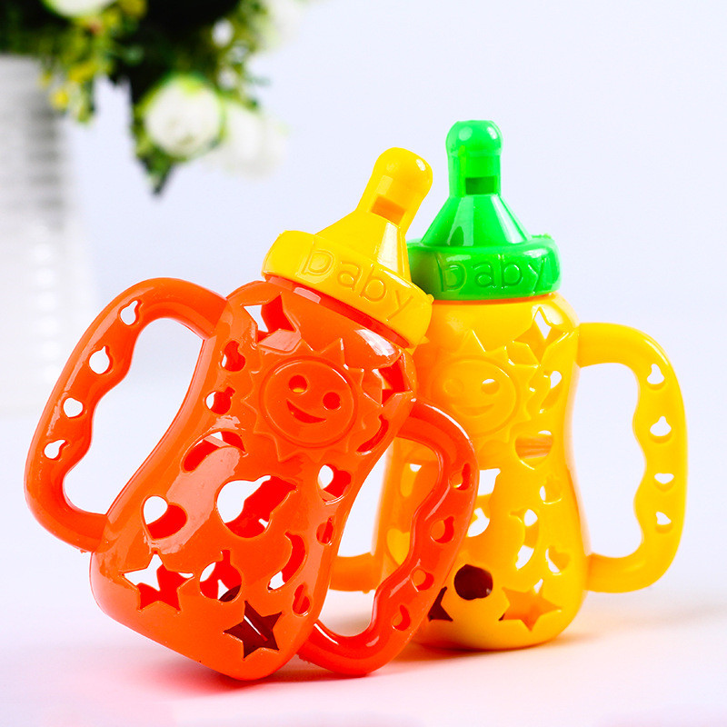 Cartoon Whistle Bottle Baby Rattle Baby Toy Three Colors Rubber Cement Rainbow Plastic Ring Doll Gift For Baby 0-12 Months