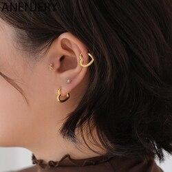 ANENJERY Simple Cute Sweet Heart Buckle Hoop Earrings Fashion for Women Heart-shaped Circle Piercing Earrings Jewelry S-E1312
