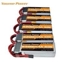 Youme RC Lipo батарея 4S 14,8 V 5000mah 5200mah 6200mah 6500mah 3300mah 60C для 1:10 1:12 rc автомобилей дронов Вертолет Лодка XT60 штекер