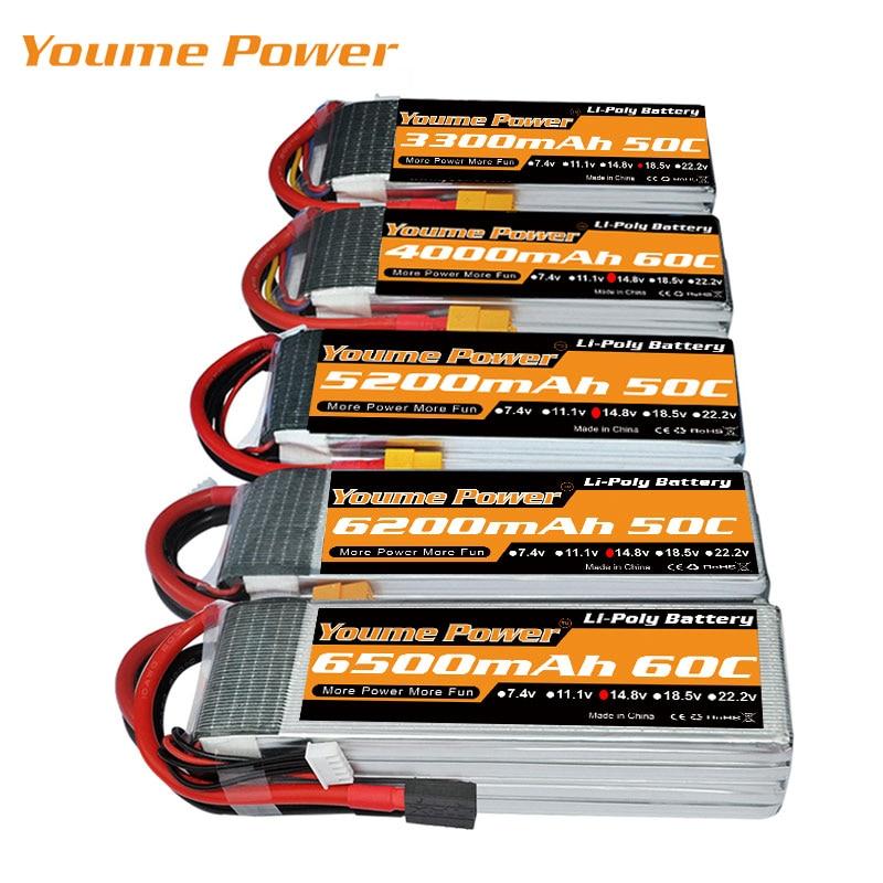 Аккумулятор Youme RC Lipo, 14,8 в, 5000 мА/ч, 5200 мА/ч, 6200 мА/ч, 6500 мА/ч, 3300 мА/ч, 60C для 1:10, 1:12, rc, дроны, вертолет, лодка, штекер XT60
