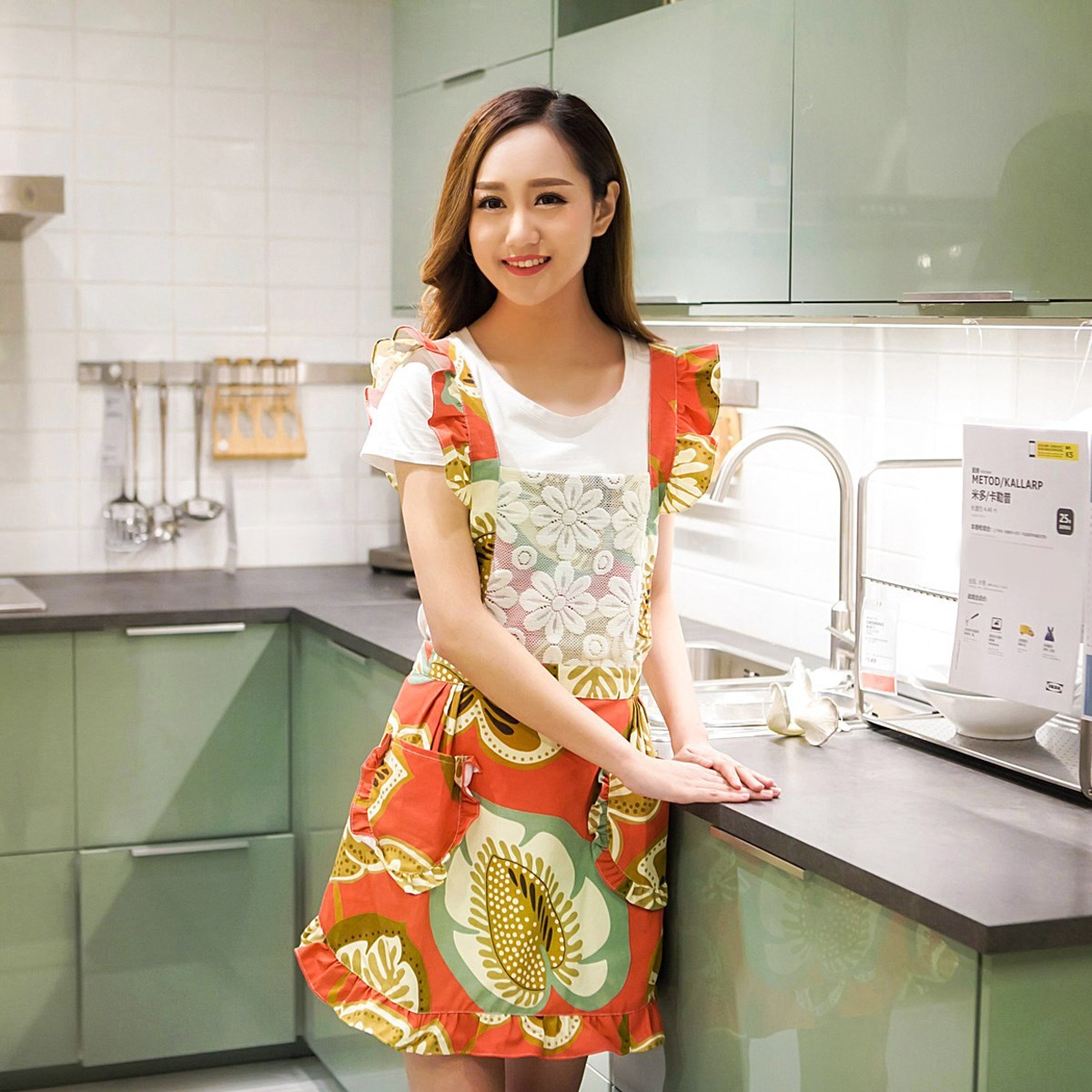 Apron Korean-style Fashion Cute Breathable Work Clothes Cooking Home Women's Sleeveless.