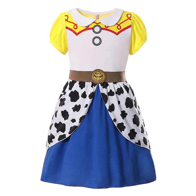 Halloween Costume Toy Story 4 Jessie Cosplay Girls Fancy Dress Pleated Dress+Bag