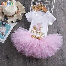 Комплекты одежды для маленьких девочек на 1 год, платья на день рождения, топ с единорогом, головной убор, 3 шт., кружевная юбка с коротким рука...