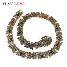 Sunspicems elegancki marokański kaftan pas dla kobiet etniczna biżuteria ślubna Metal z dziurką kwiaty Link Chain regulowana długość