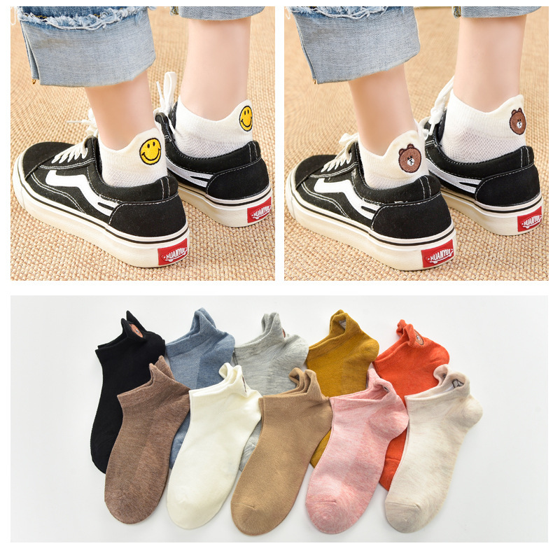 Candy Color Women Socks Happy Fashion Ankle Funny Socks Girls Female Cotton Embroidered Expression Socks Ms32