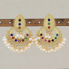 Colorful Beads Tassel Indian Jhumka Earrings For Women Ethnic Vintage Gold Alloy Bollywood Oxidized Bell Pearl Dangle Earrings