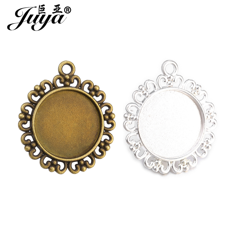 JUYA 10pcs/lot 20mm Inner Round Cabochon Base Heart Shape Pendant Setting Accessory For Jewelry DIY Making Findings Hot Sale