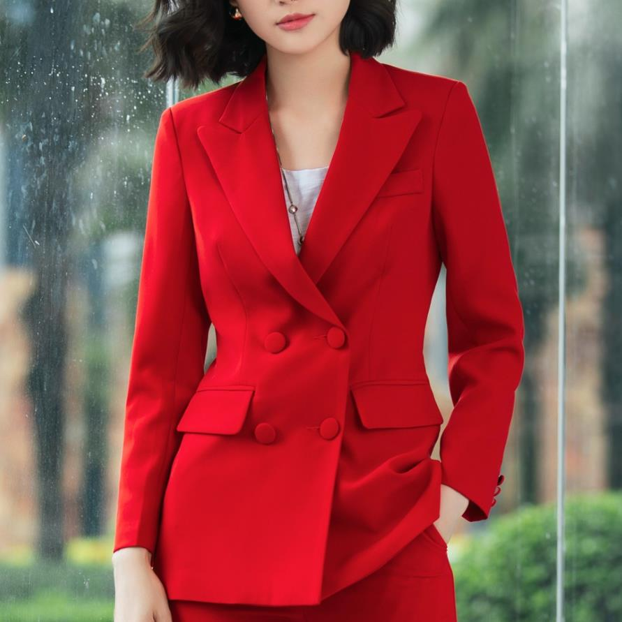 Plus Size 3XL! Spring Autumn Elegant Long Ladies Blazer Double Breasted Women Solid Jacket Fashion