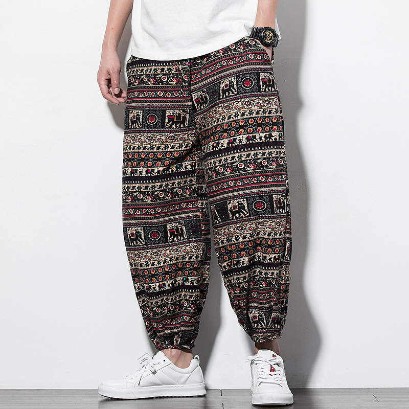 Ethnic Style Printed Loose Pants Plus Size Lightweight Linen Breathable Hip Hop Chinese Style Personality Color 5XL Casual Pants