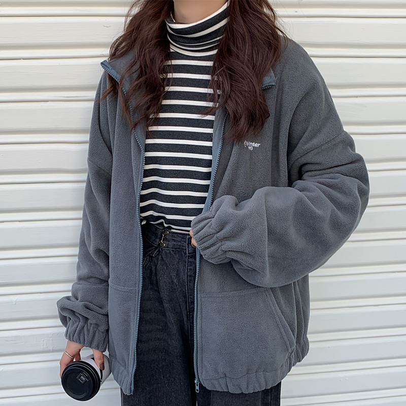 Hoodies Women Zip-up Turn-down Collar Printed Pocket Long Sleeve Korean Style New Trendy Casual BF Ulzzang Harajuku Womens Daily 6