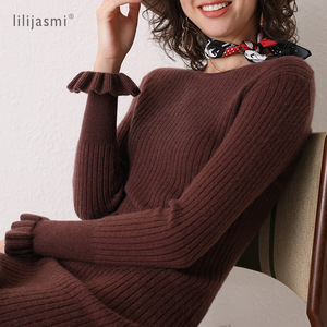 Image 3 - 2019 Women 100% Cashmere O neck Knit Long Dress Allover Ribbed Winter Dress Flare Sleeve Straight Soft Long Knitwear Sweaters