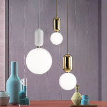 Modern LED Pendant light europe glass ball Indoor lighting novel Hanging lamp Restaurant Bedroom bar shop vintgae light fixture