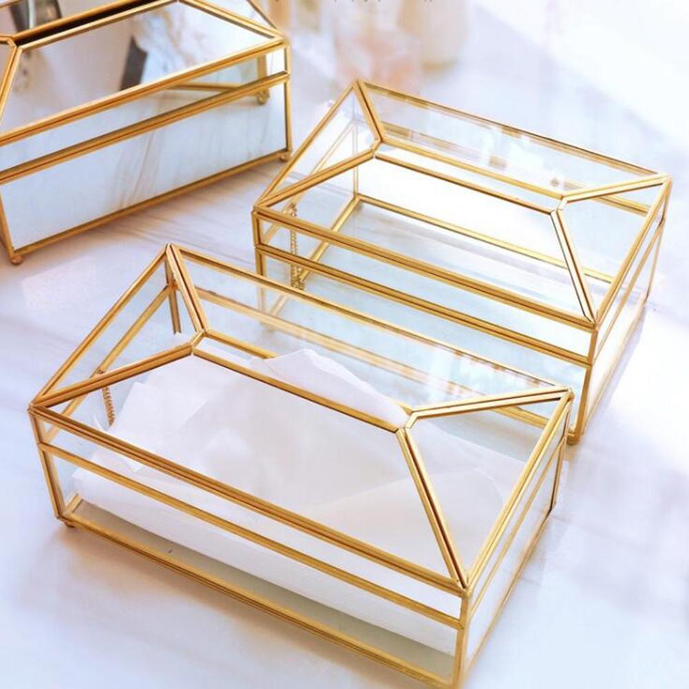 European creative glass tissue box simple living room household tissue box Nordic luxury light luxury napkin tray