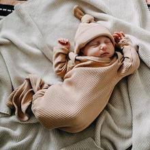 Enfant en bas âge nouveau-né bébé sac de couchage sacs infantile solide côtelé à manches longues couverture lange d'emmaillotage + chapeau 2 pièces bébé literie vêtements
