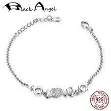 New Authentic 925 Sterling Silver Heart Zircon Alphabet LOVE Bracelets for Girlfriends Fine Jewelry