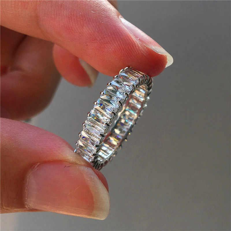 Sang trọng Nữ Pha Lê Nhỏ Thiên Nhiên Kim Cương Thật 100% Bạc 925 Đính Vintage Nhẫn Cưới Cho Nữ