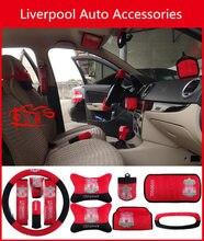 Faux Plush Liverpool Team Auto Accessories Set Ornaments Steering Headrest Sun Visor Liverpool Fan Supplies