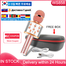 Free Shipping Russia Stock Ws858 Microphone Wireless Bluetooth Karaoke Mic Magic Sound For Music Playing Singing Speaker Player