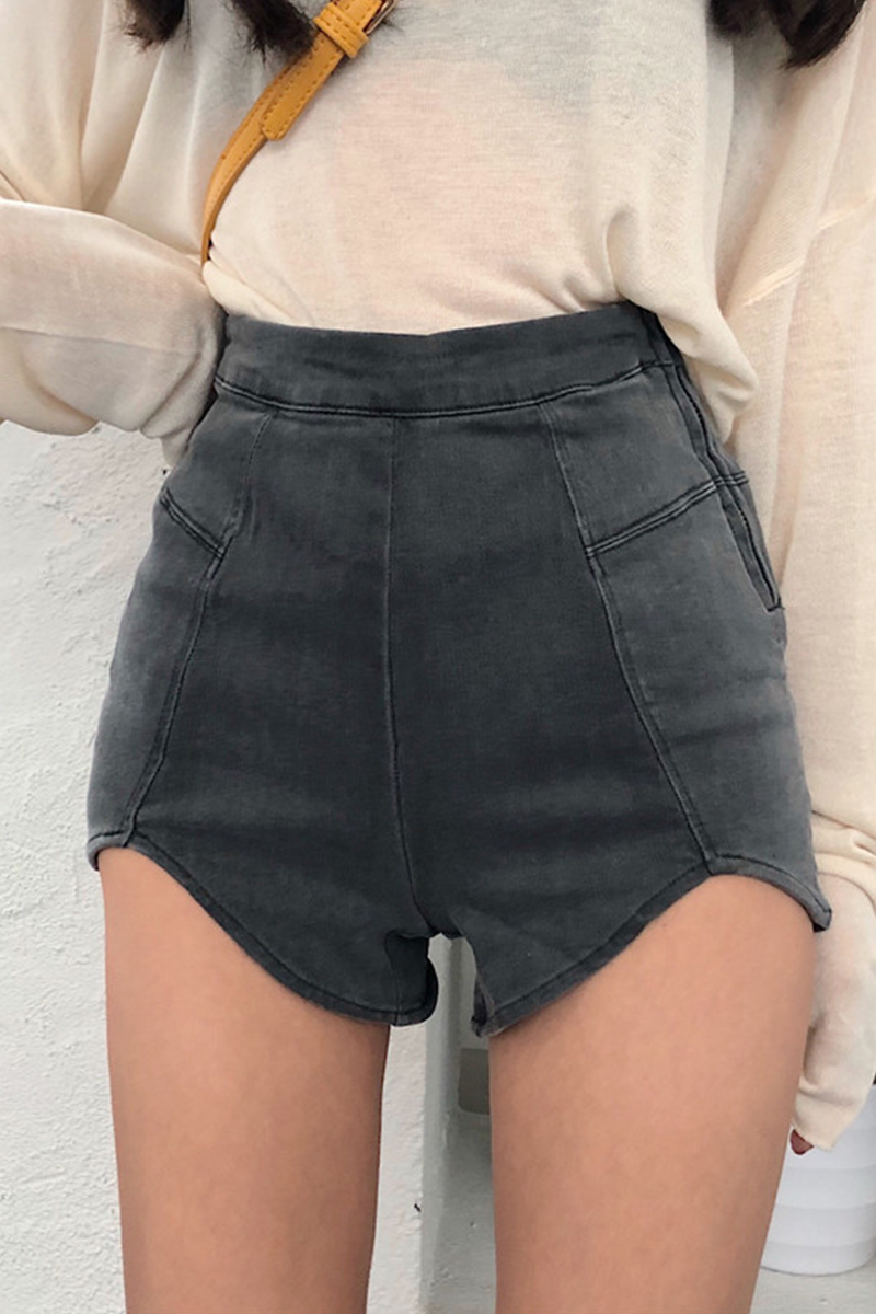 H89c852af9f344e6782bdab6e52c52dfaR - DEAT New spring and summer fashion high waist slim elastic denim shorts female Zippers denim short pants WL16402L