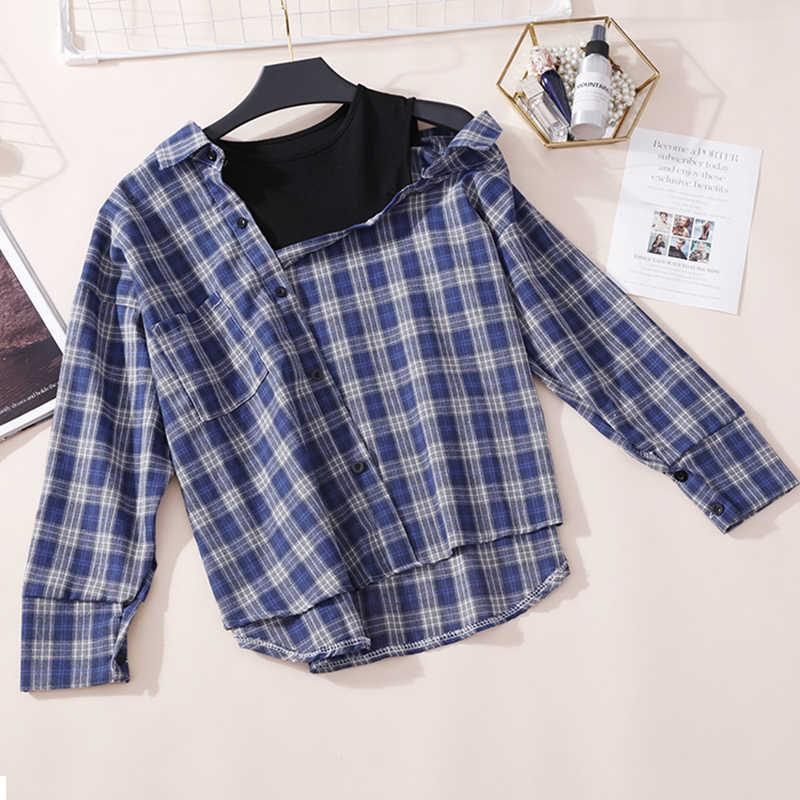 2020 جديد ربيع المرأة خمر القطن منقوشة قميص طويل الأكمام غير متناظرة قبالة الكتف بلوزة عصرية yy333
