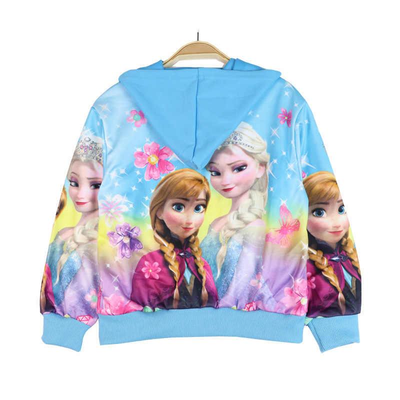 2019 Новое весенне-осеннее пальто принцессы Анны и Эльзы из мультфильма «Холодное сердце» для девочек, верхняя одежда с капюшоном и цветочным принтом для маленьких детей, детские пальто, куртка, одежда для детей 2-8 лет