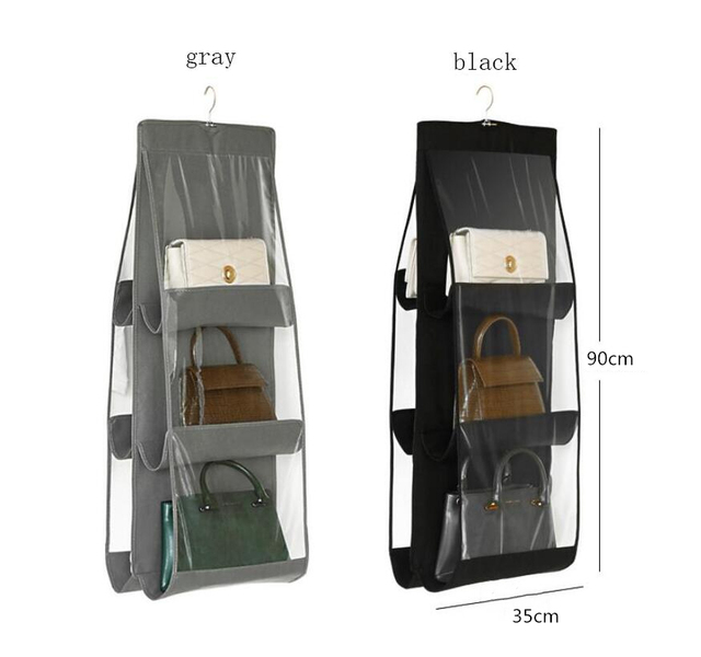 8 Pocket Folding Hanging Handbag Purse Storage Large Clear Holder Anti-dust Organizer Rack Hook Hanger