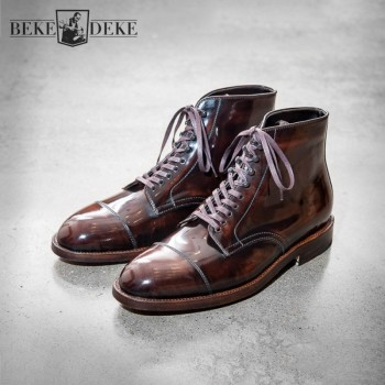 2021 Spring Mens Shoes Retro Style Genuine Leather Ankle Boots Lace Up Casual Boots High-Top Shoes Pointed Toe Motor Biker Boots