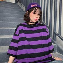Fashion Hip Hop Women T-Shirt Loose Summer Oversized Striped O-Neck Female Tops