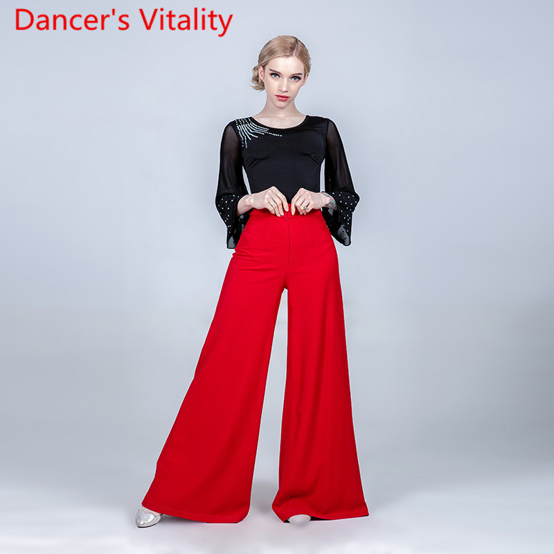 Women Diamond Top Loose Pants Modern Dance Trousers Ballroom National Standard Waltz Dancing Competition  2 Color Stage Wear