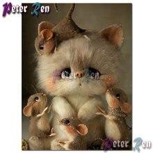 5d алмазная вышивка с животными diy мозаика котом и мышкой крестиком