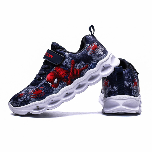 2020 Boys Led Shoes Girls Cartoon Light up Luminous Sneakers Glowing Illuminated Spiderman Running  Shoes for Kids 2