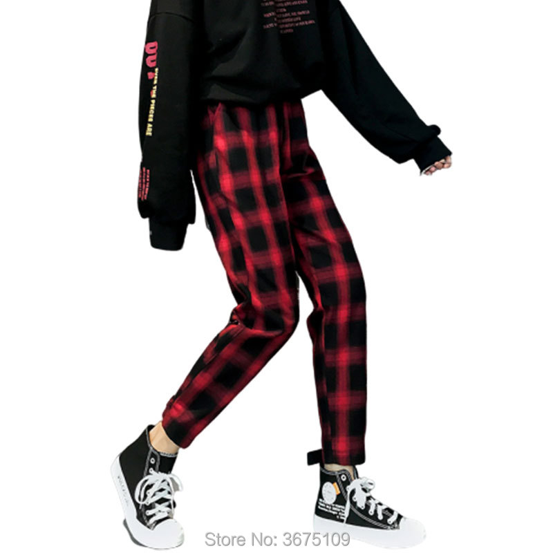 Harajuku Red Plaid Pants Hippie Pants Cargo Pants Women 2020 Fashion Vintage Casual Pants Elastic Waist Woman Trouses Plus Size
