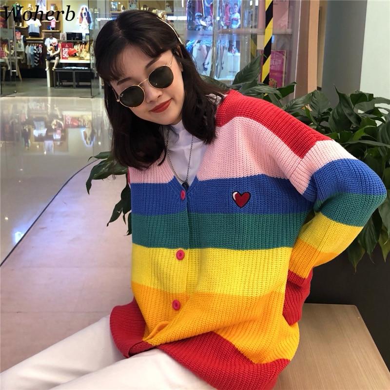Woherb 2019 סתיו Harajuku קרדיגן נשים פסים קשת סוודר מעיל נשי רופף סוודרים מכתב רקמת Jumper סוודרים
