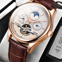 Watches Automatic Clock Mechanical-Watch Classic Retro Tourbillon Waterproof Genuine-Leather