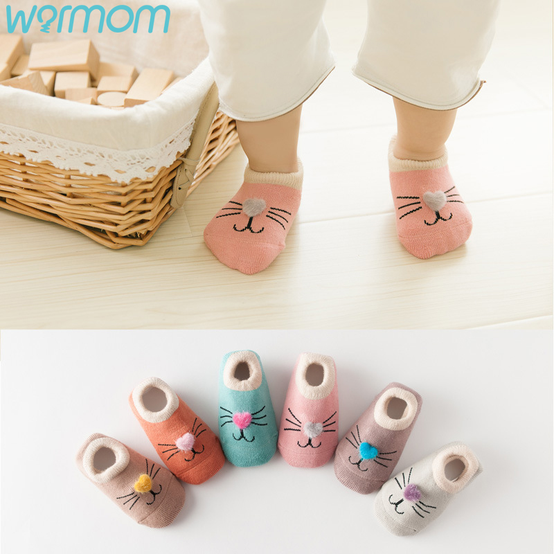 WARMOM Children's Socks In Autumn Winter Cartoon Cat Terry Thicken Infant Non-slip Socks Floor Socks Maternal Infant Supply