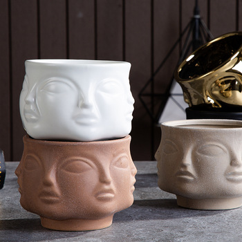 Nordic Ceramic Art Vase Sculpture Crafts Human Face Family Flower Pot Handmade Garden Storage Flower Arrangement Home Decors 1