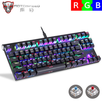 موتوسبيد CK101 لوحة مفاتيح الألعاب الميكانيكية 87 مفتاح USB السلكية RGB الأزرق الأحمر التبديل LED الخلفية لوحة المفاتيح لألعاب الكمبيوتر
