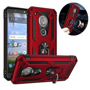 Funda de silicona para Motorola E5 E6 G6 Play G7 Plus, funda a prueba de golpes para Moto One Zoom Z4 P40, funda con anillo y soporte magnético
