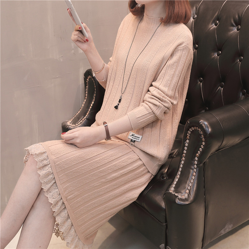 Two-Piece Set Jersey Dress Spring Clothing Mock-Neck Loose-Fit Slimming Lace Dress Outfit Mid-length Base Sweater Dress
