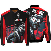 John Wick the Boogie Man Movie 3d print Bomber Jacket Zip Up Jacket Winter Thick MA1 Flight Coat College Jacket Wholesale