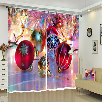 Colorful ball Christmas Decorative Luxury 3D Curtains Drapes For Living room Bed room Hotel Wall Tapestry Cortinas