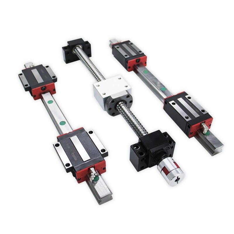 2 rails de guidage linéaires 15mm HGR15 hgh15ca hgw15ca + 1 sfu1605 écrou à billes boîtier toute longueur + support BK/BF12 + coupleurs pour CNC - 2