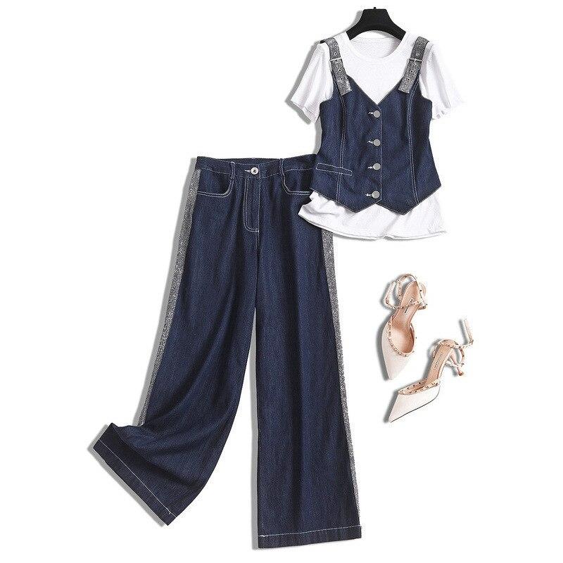 Cotton Denim  3 Piece Set Women Streetwear Jean Crop Top+white T-shirts+jeans Full Length  Korean Style Women Suits