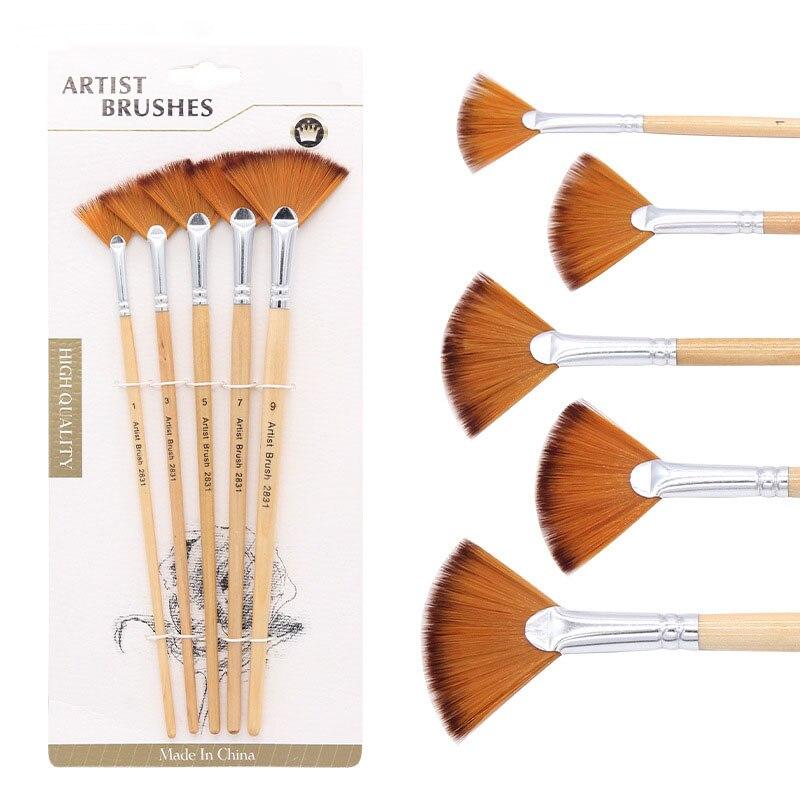 5 Pcs/Set Two-color Nylon Hair Artist Paint Brush Fan-shaped Pen Oil Multi Purpose Paint Brush School Educational Supplies