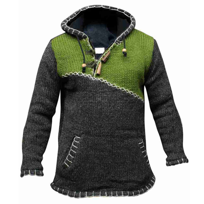 Old Fashion Hoodie Pullover Sweater For Men Streetwear Cropped Stitching Hooded Men Sweatshirt Casual Autumn Winter Mens Clothes 1