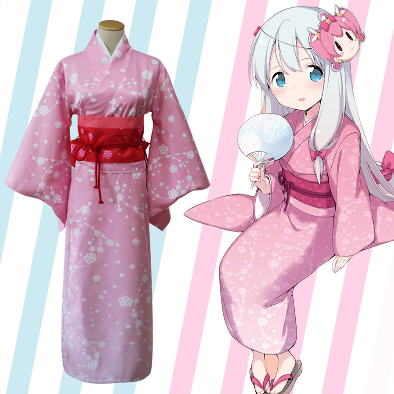 Pink Lady Kimono With Obi Japanese Traditional Yukata Girl Anime Cosplay Clothes Halloween Costume Performance Robe Dress Gown