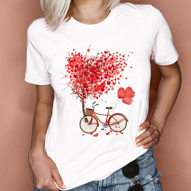 Women Graphic 2021 Spring Summer Watercolor Cute Fashion Love Valentine Lady Clothes Tops Tees Print Female Tshirt T Shirt