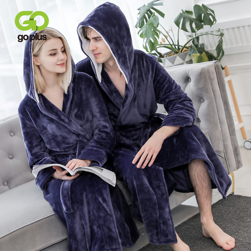 GOPLUS Winter Noble Couple Robe Women Thick Warm Terry Hoodies Sleepwear Long Bathrobe Plus Size Gown Robes Women Peignoir Femme